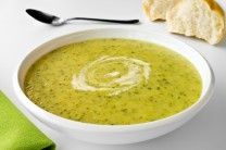 Zucchini or Courgette Soup and Bread